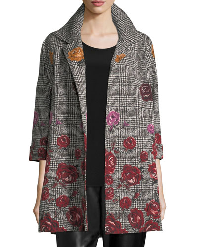 Plus Size Rose Plaid Jacquard Party Jacket