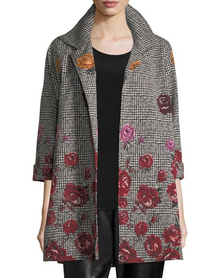 Caroline Rose Plus Size Rose Plaid Jacquard Party Jacket