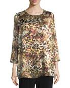 Leopard Devore Layered Tunic, Plus Size