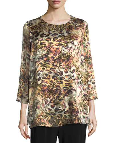 Leopard Devore Layered Tunic, Plus Size