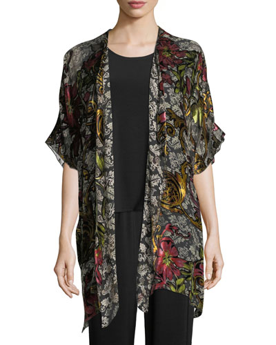 Double Printed Devore Caftan Cardigan, Plus Size