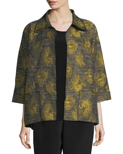 Floral Interest Jacquard Jacket, Plus Size