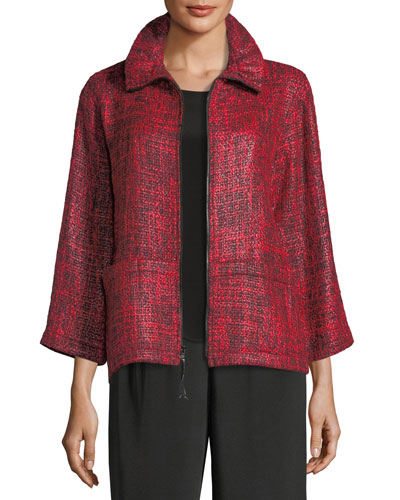 Glazed Tweed Zip-Front Jacket, Plus Size