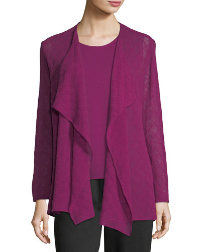 Diamond-Weave Wool Cardigan, Plus Size