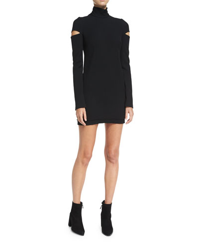 Helmut Lang Turtleneck Slit Long - sleeve Mini Sweater Dress
