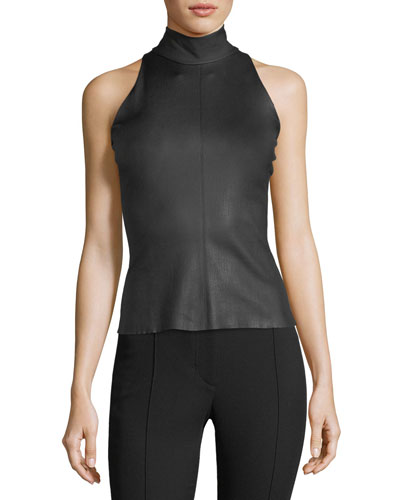 Matte Stretch-Leather Mock-Neck Top