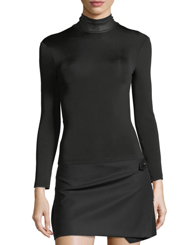Bondage Leather Neck Long-Sleeve Stretch Top