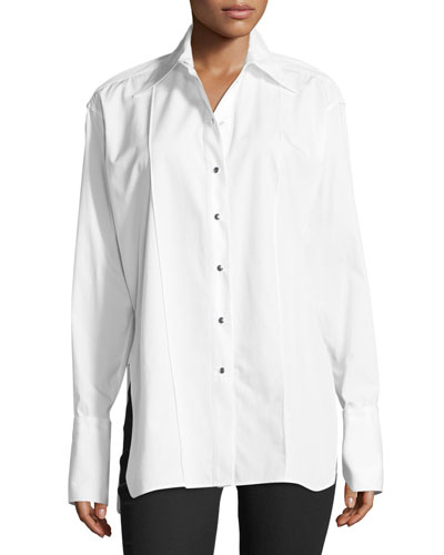 Oversized Long-Sleeve Button-front Poplin Shirt