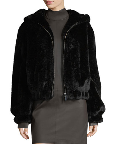 HEMUT ANG BACK FAUX FUR HOODED BOMBER JACKET BACK
