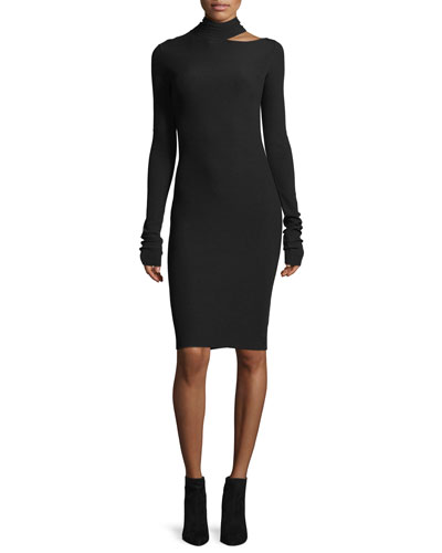 Helmut Lang Tieback Long - sleeve Fitted Sweater Dress