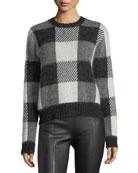 Check-Block Jacquard Oversized Wool-Blend Sweater
