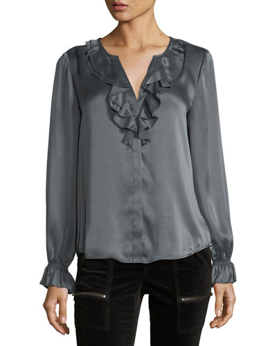 Jayanne B Long-Sleeve Satin Top