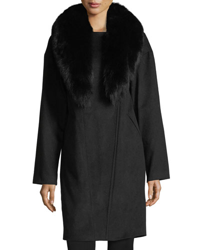 Cashmere Coat w/Detachable Fox Fur Collar