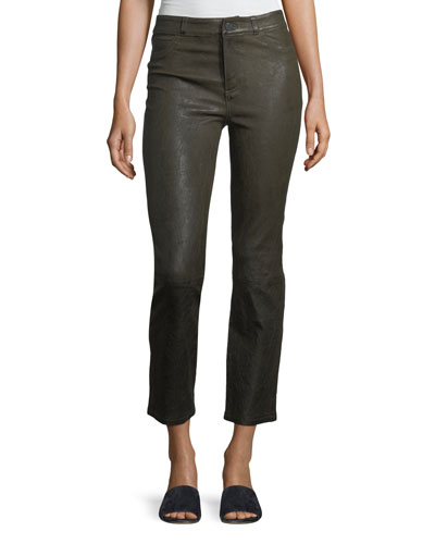 Jacqueline Straight-Leg Stretch-Leather Pants