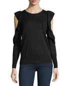 Lucasta Crewneck Cold-Shoulder Sweater