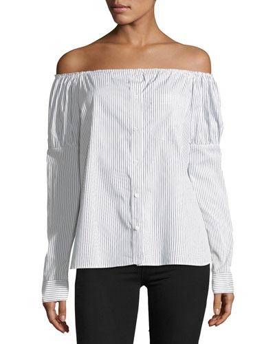 Sovereign Off-the-Shoulder Striped Poplin Shirt