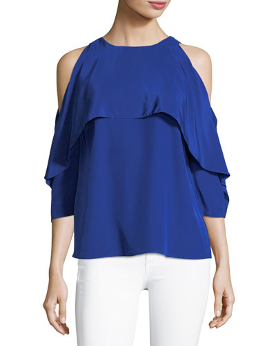 Baron High-Neck Cold-Shoulder Satin Blouse