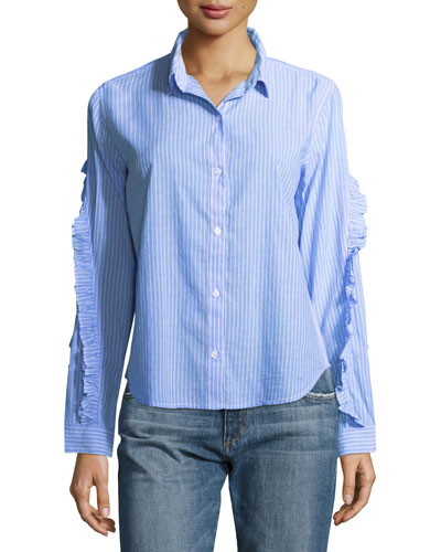 Lizzi Striped Button-Front Poplin Shirt