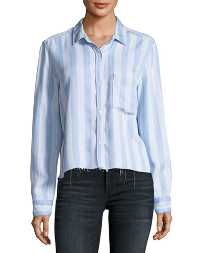 Bishop Striped Button-Front Cutoff Top