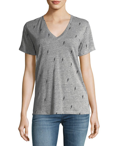 Cara V-Neck Lightning-Bolt Tee