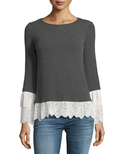 Fairy Godmother Long-Sleeve Top w/ Lace Trim