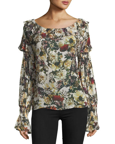 Once Upon A Time Floral-Print Ruffled Top