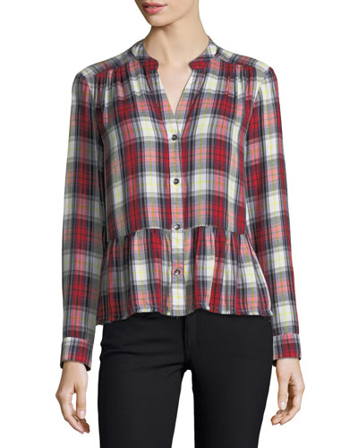 Edgware Plaid Button-Front Long-Sleeve Shirt