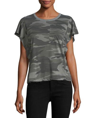 Camo Vintage Ruffle Cotton Top