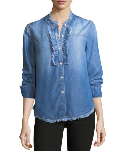Button-Front Long-Sleeve Denim Shirt