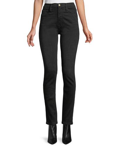 Ali High-Rise Skinny Cigarette Jeans w/ Fringed Hem