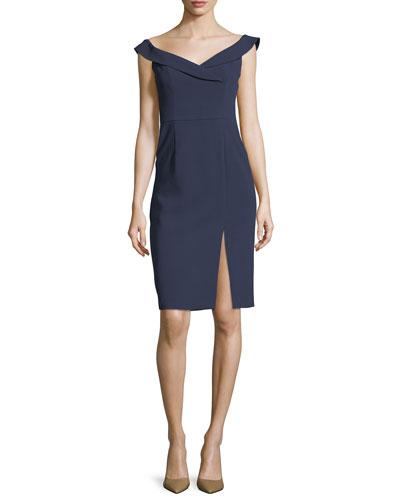 Hepfburn Off-the-Shoulder Sheath Cocktail Dress