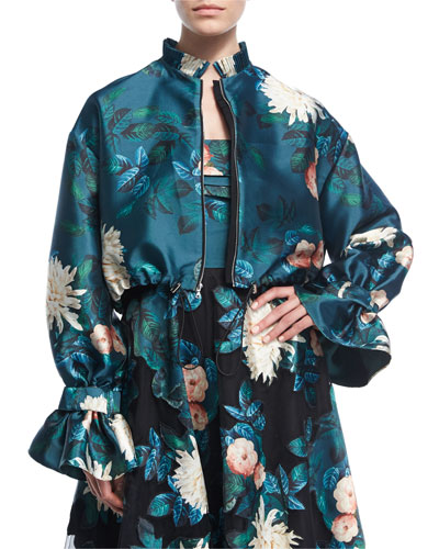 Doshi Trumpet-Sleeve Floral-Print Jacket