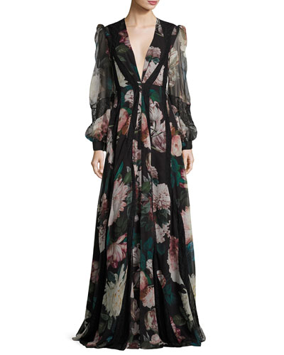 Mumbai Plunging Long-Sleeve Printed Evening Gown w/ Lace