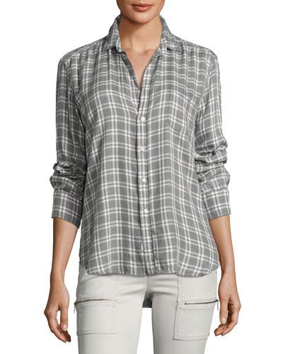 Long-Sleeve Button-Front Check-Print Shirt