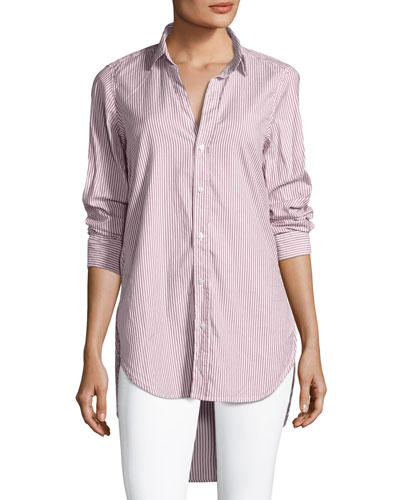 Grayson Long-Sleeve Button-Front Striped Poplin Shirt
