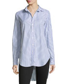Grayson Striped Button-Down Long-Sleeve Cotton Shirt