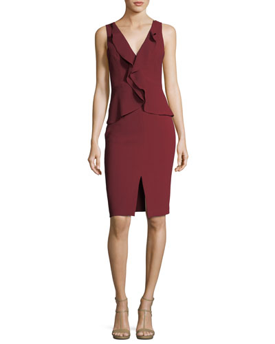 Bishop V-Neck Peplum Ruffled Cocktail Dress