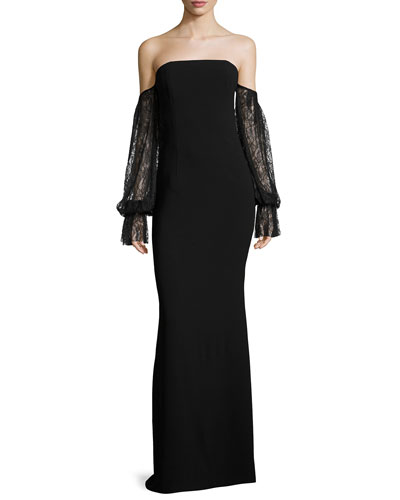 Kriti Off-the-Shoulder Column Evening Gown w/ Lace Sleeves