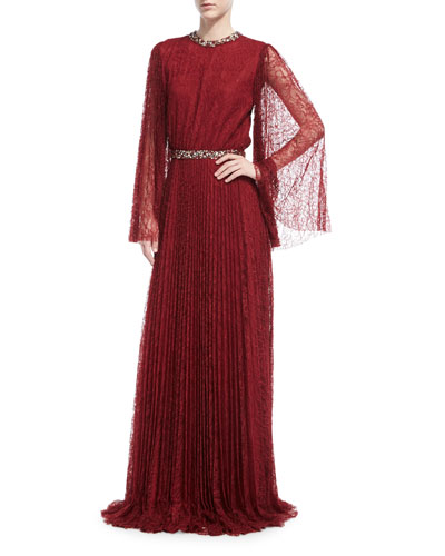 Vidya Long-Sleeve Embellished Lace Gown