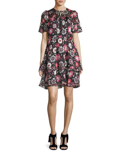 casa flora flutter-sleeve pleated chiffon dress
