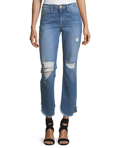 Le High Straight-Leg Jeans w/ Petal Hem