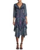Janis V-Neck Paisley Chiffon Dress w/ Lace