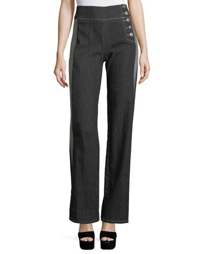 Patti High-Waist Side-Stripe Wide-Leg Pants