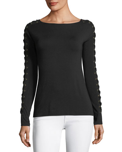 Beanstalk Boat-Neck Lace-Up Sleeve Fitted Top