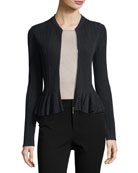Released Rib Zip-Front Peplum Jacket