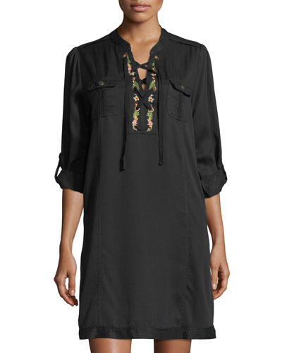 Lace-Up Embroidered Shift Dress