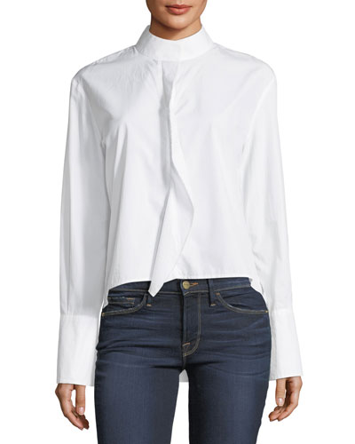Cravat Long-Sleeve High-Low Poplin Shirt