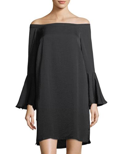Off-The-Shoulder Bell-Sleeve Dress, Black