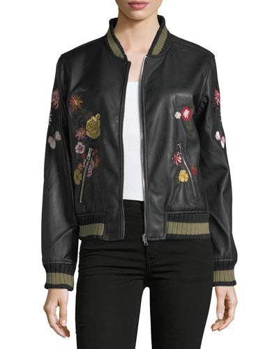Floral-Appliqué Bomber Jacket