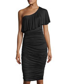 Barbados One-Shoulder Ruched Midi Dress